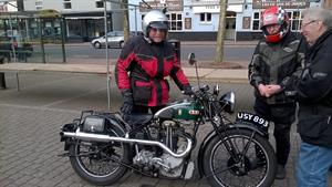 Rodney arrives on his 1932 BSA Blue Star. Barrie, tonight's leader is on the far right